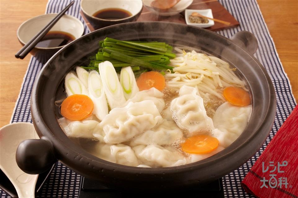 極上!鶏だし餃子鍋(味の素冷凍食品KK「ギョーザ」+にらを使ったレシピ)