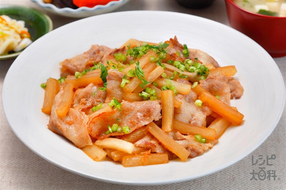 旬の大根と豚バラのダシ煮(大根+豚バラ薄切り肉を使ったレシピ)