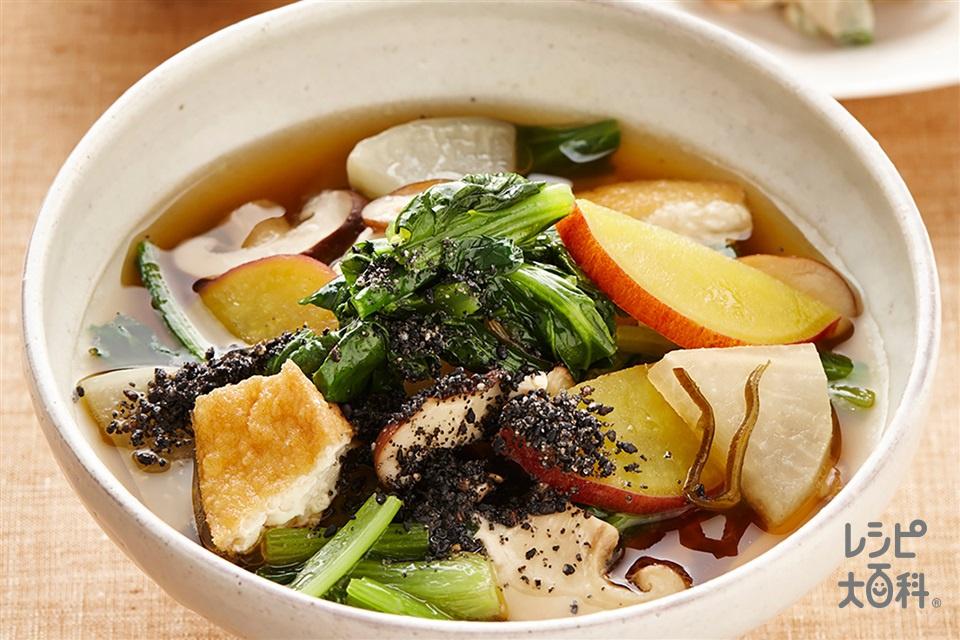 だいこんと大和真菜入りごまけんちん汁(大根+厚揚げを使ったレシピ)