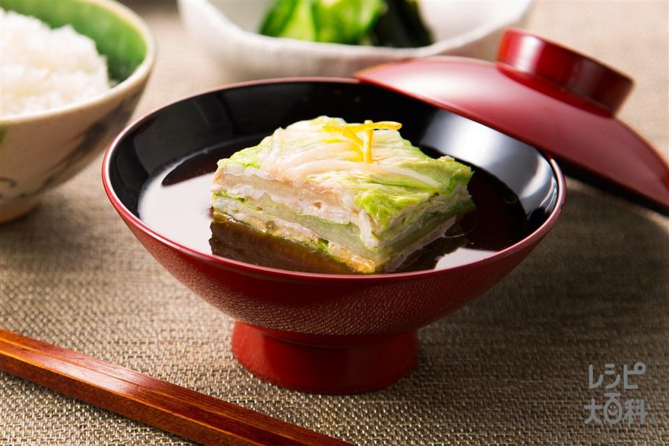 白菜と豚肉の重ね蒸し 赤みそ仕立て(白菜+豚バラ薄切り肉を使ったレシピ)