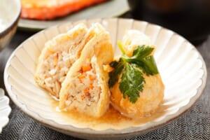 鶏ひき肉と千切り大根の巾着(袋煮)