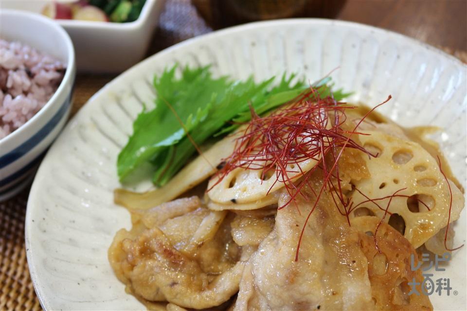 美濃ポークと羽島れんこんの和風マリネ(豚肩ロース薄切り肉+片栗粉を使ったレシピ)
