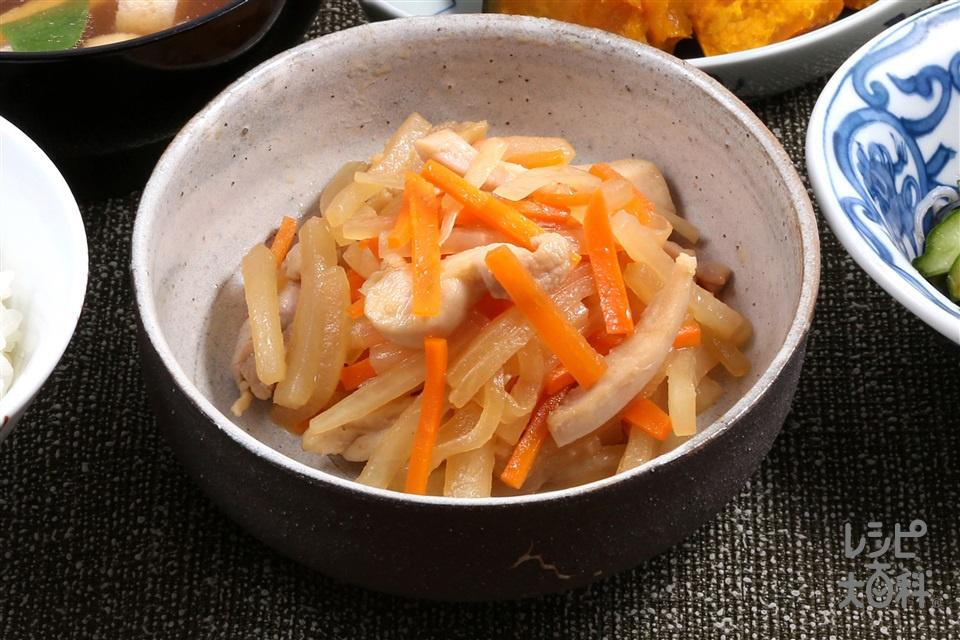 会津野菜のひき菜炒り(大根+鶏もも肉を使ったレシピ)