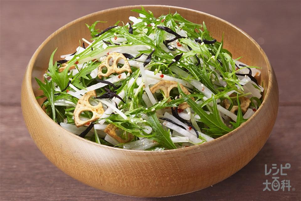 大根と水菜の京風トスサラダ(大根+水菜を使ったレシピ)