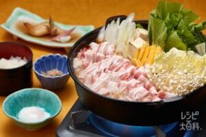 豚肉と島野菜のすき焼き風