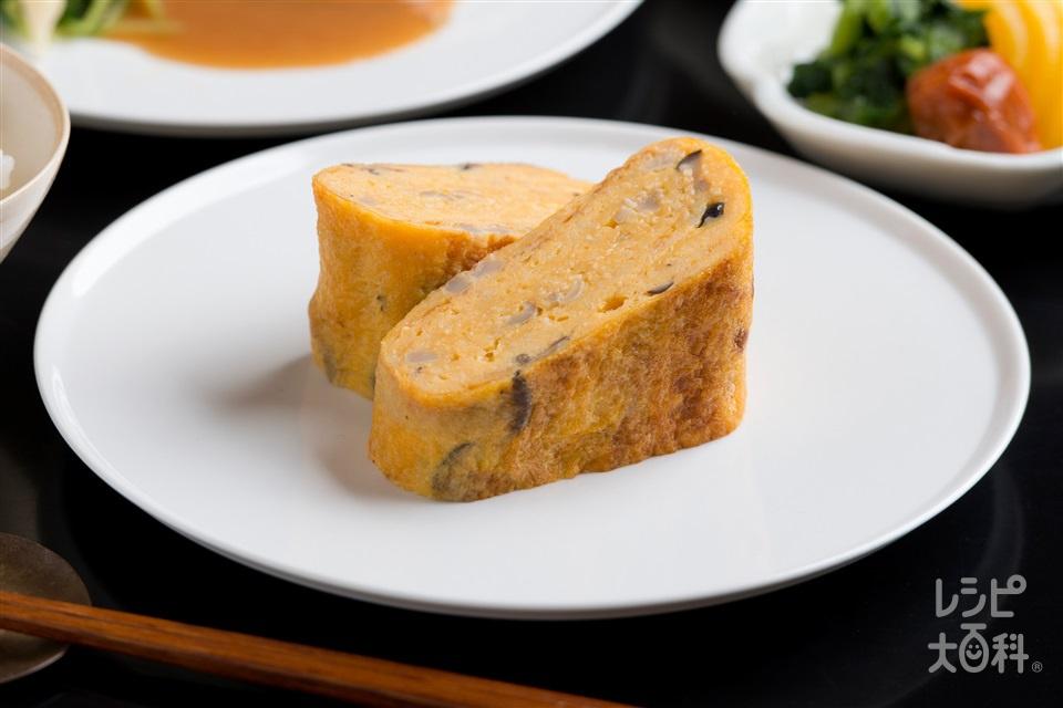 自然薯とシメジのだし巻き玉子(じねんじょ(すりおろし)+溶き卵を使ったレシピ)
