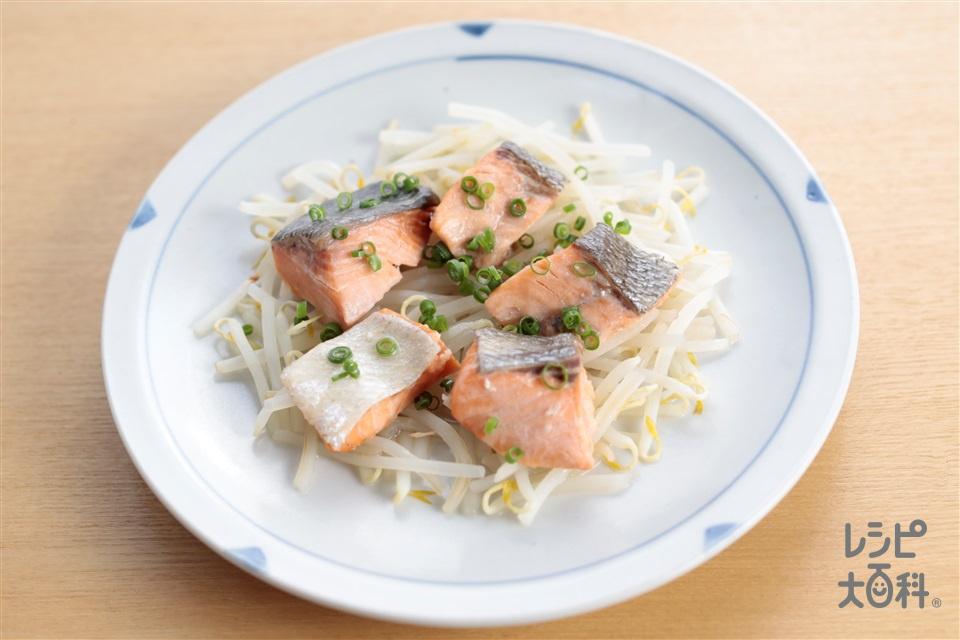 秒速 鮭のもやし蒸し(さけ+「Cook Do 香味ペースト」を使ったレシピ)