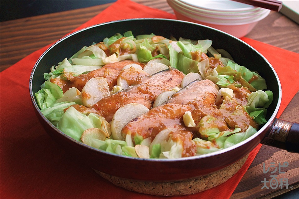 フライパンで鮭と長芋のちゃんちゃん焼き(生ざけ+長いもを使ったレシピ)