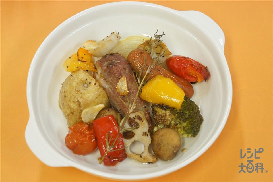豚肉と野菜のぎゅうぎゅう焼き(豚肩ロースかたまり肉+じゃがいもを使ったレシピ)