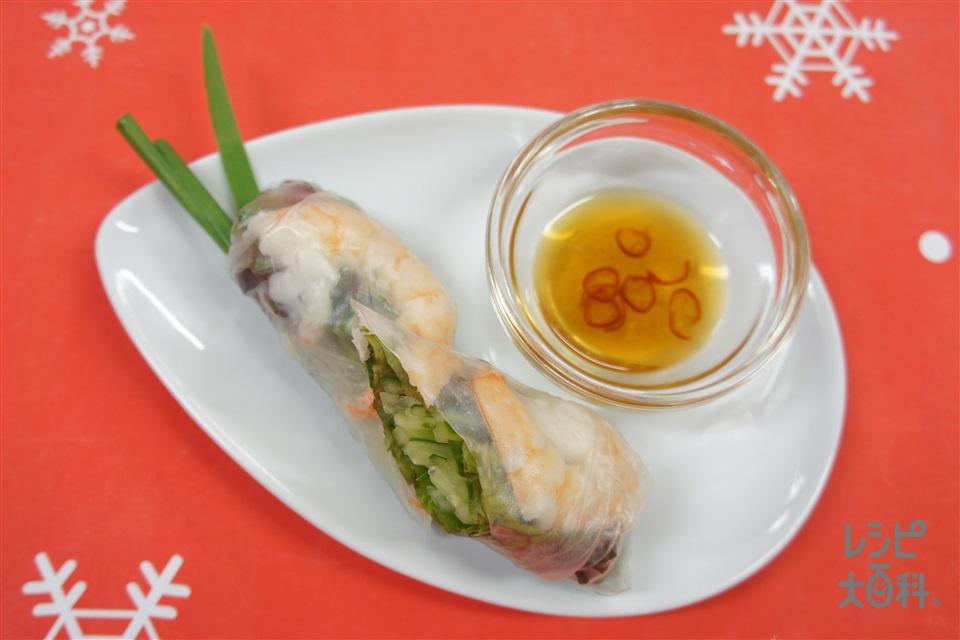 手作りエスニックソースDEえびの生春巻き(えび+サニーレタスを使ったレシピ)