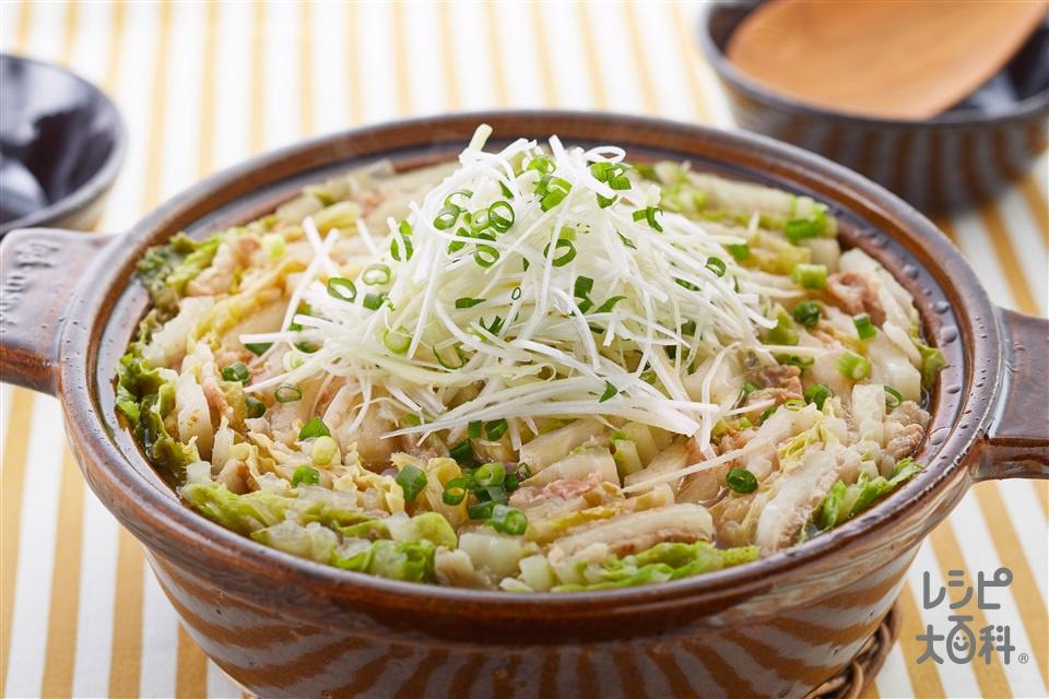 ≪塩分控えめ≫豚バラと白菜の重ね鍋(豚バラ薄切り肉+白菜を使ったレシピ)