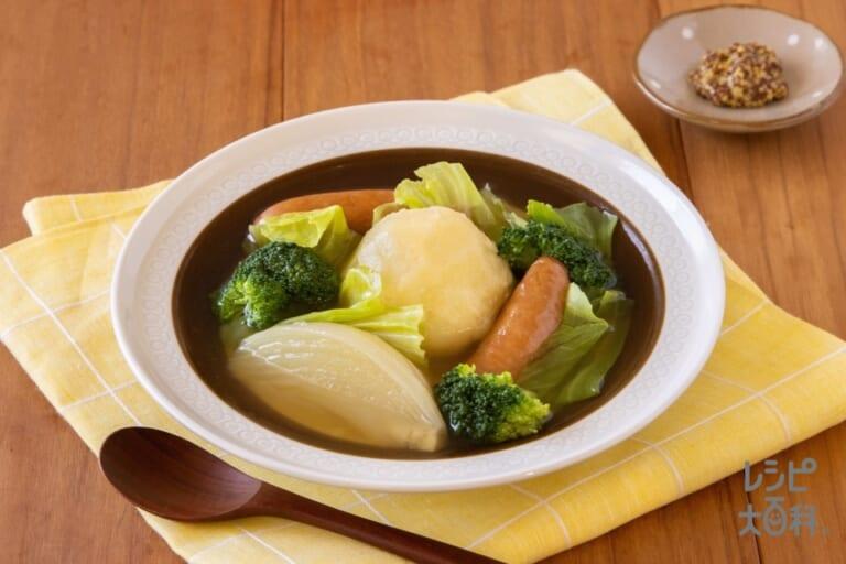≪塩分控えめ≫ソーセージとざく切り野菜のポトフ
