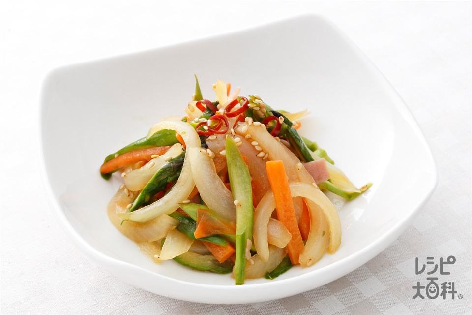 アスパラと玉ねぎの中華きんぴら(グリーンアスパラガス+玉ねぎを使ったレシピ)