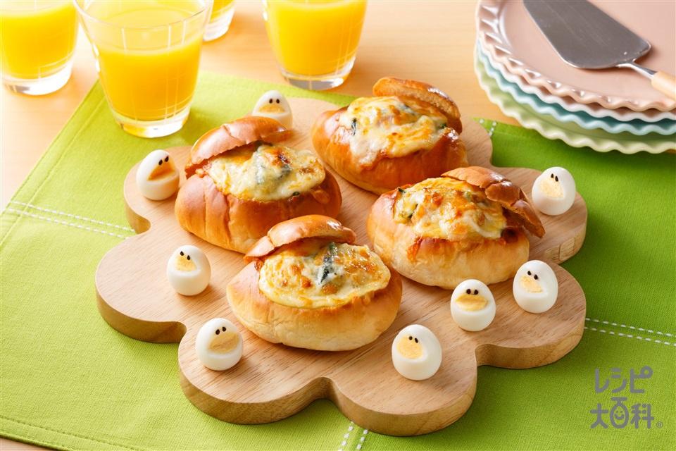 ロールパンキッシュ(ロールパン+うずらの卵の水煮を使ったレシピ)