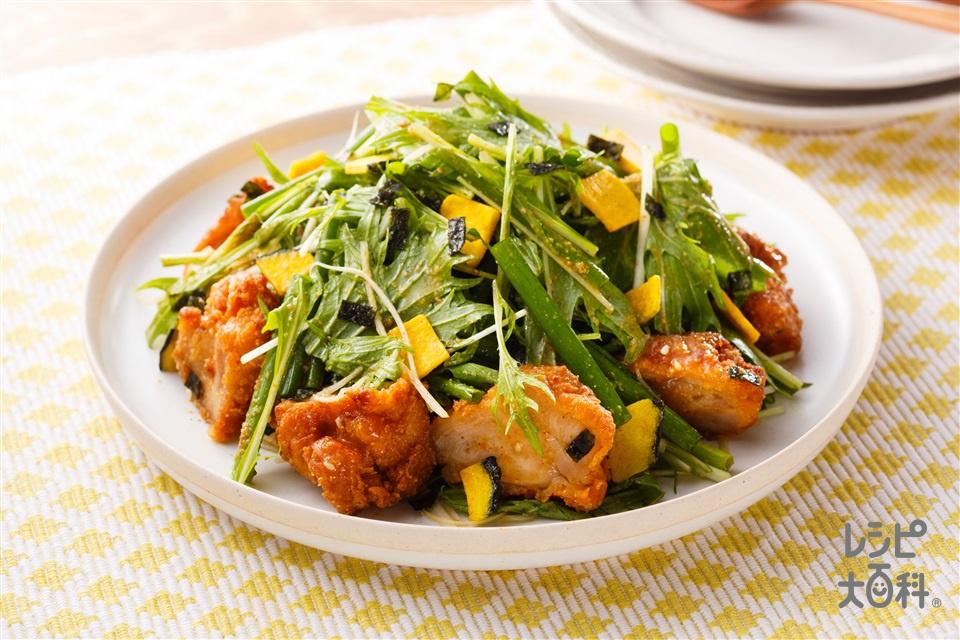から揚げとねぎのトスサラダ(から揚げ(市販品)+水菜を使ったレシピ)