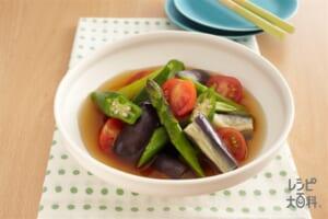 レンジで簡単!夏野菜の冷たい煮びたし