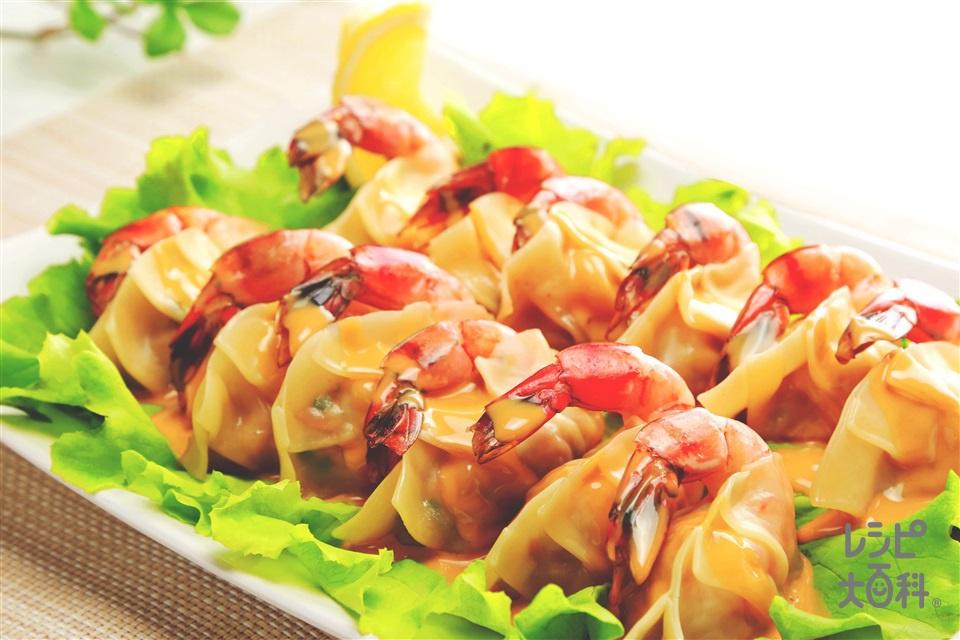 オイマヨで!丸ごとエビ餃子(えび+豚ひき肉を使ったレシピ)
