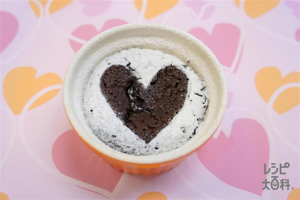 お手軽フォンダンショコラ(卵+ふるった薄力粉を使ったレシピ)