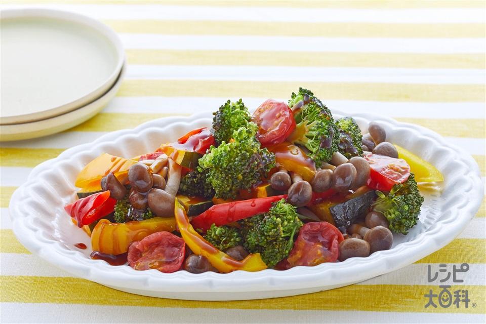 彩り温野菜のオイスターソースかけ(ブロッコリー+しめじを使ったレシピ)