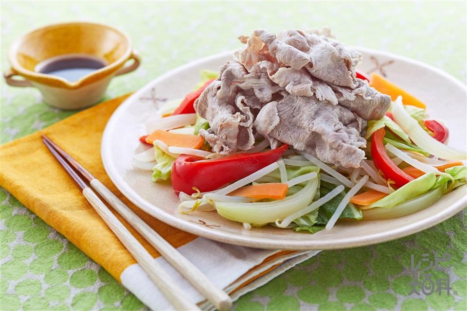 豚しゃぶ温野菜のオイスターソースかけ(豚しゃぶしゃぶ用肉+キャベツを使ったレシピ)