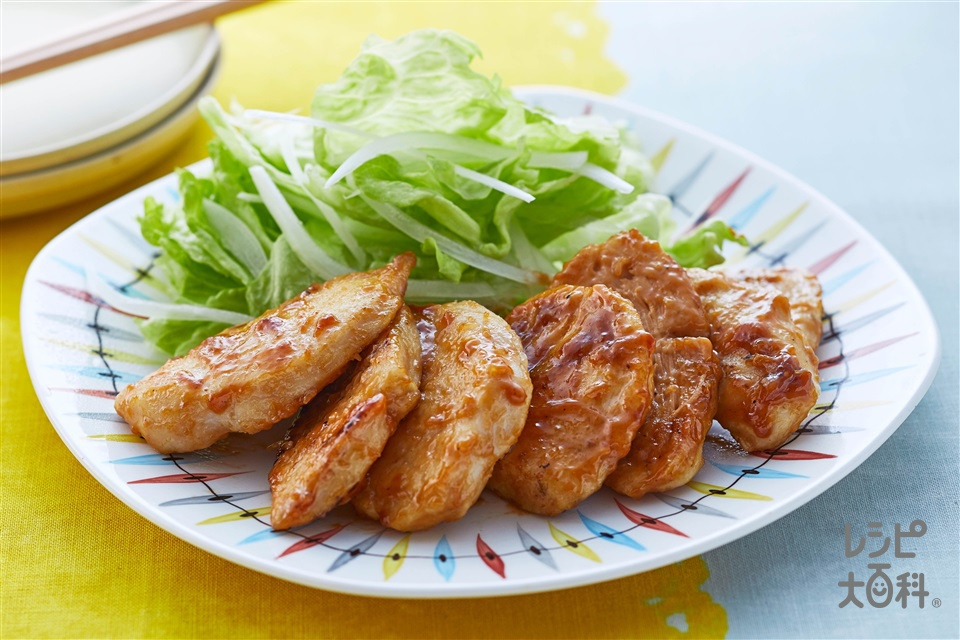 鶏胸肉のこってりオイマヨあえ(鶏むね肉+レタスを使ったレシピ)