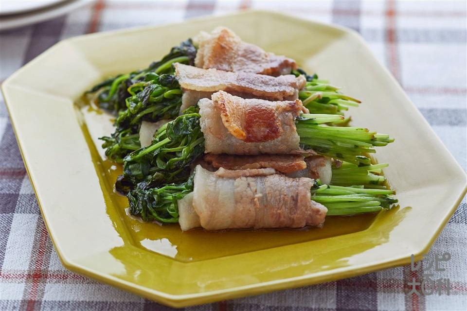 豚バラ豆苗ロール(豆苗+豚バラ薄切り肉を使ったレシピ)