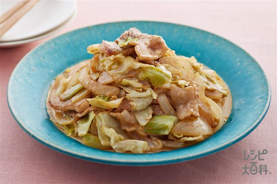 豚バラとキャベツのオイマヨ炒め