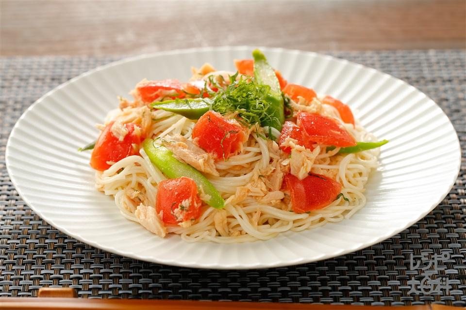トマトとツナの冷製パスタ風(そうめん+「AJINOMOTO オリーブオイル エクストラバージン」を使ったレシピ)
