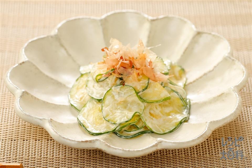 マヨズッキーニ~おかかとわさび風味~(ズッキーニ+削り節を使ったレシピ)