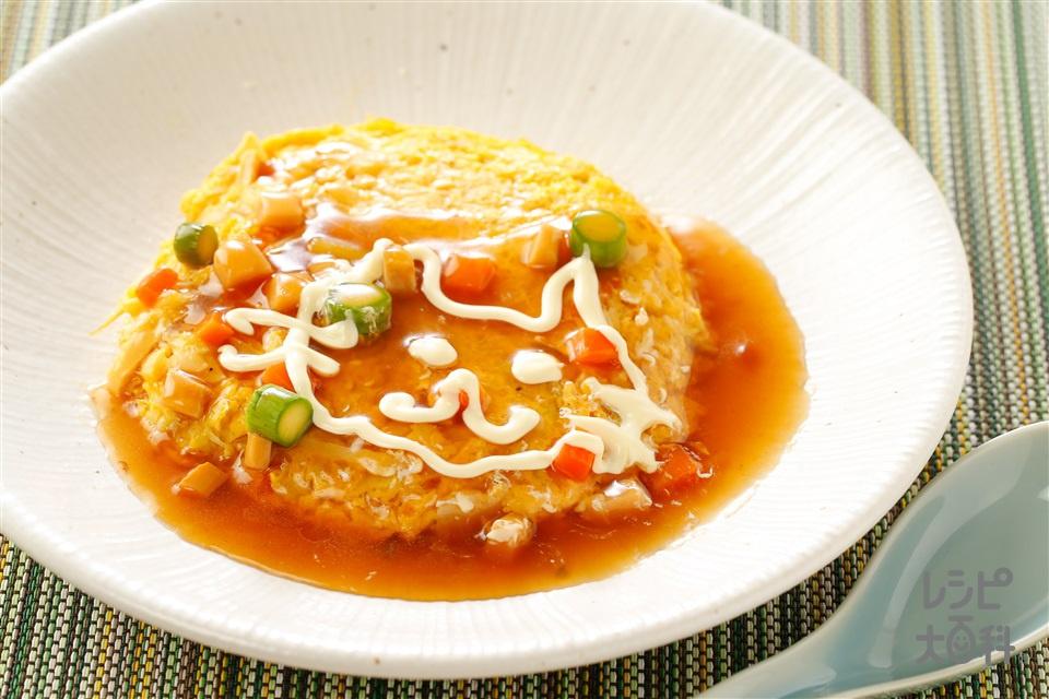 和風餡のふわとろ野菜オムレツ(春キャベツ+玉ねぎを使ったレシピ)
