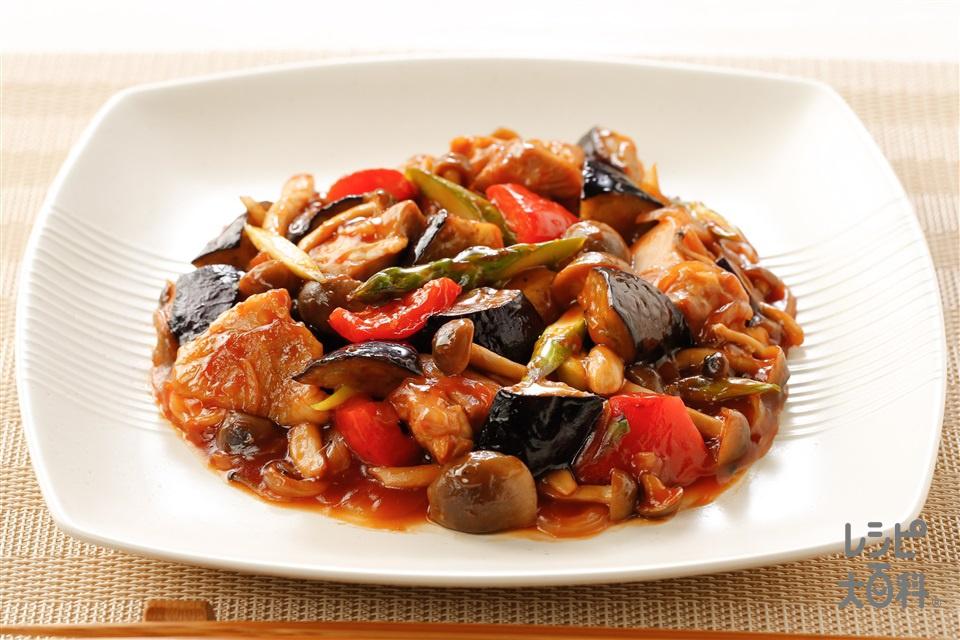 鶏肉とカラフル野菜の中華煮風(鶏もも肉+なすを使ったレシピ)