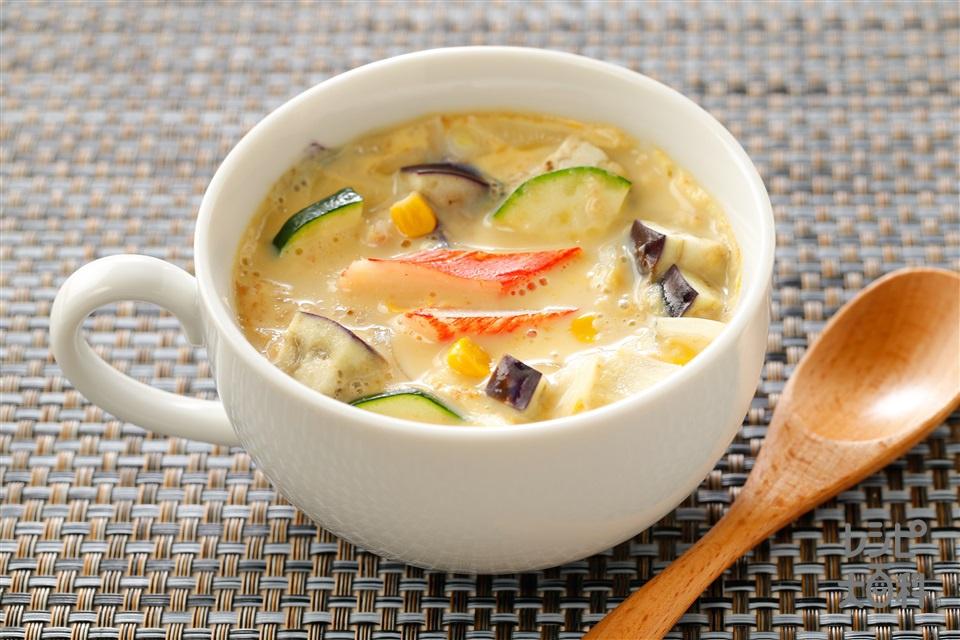 夏野菜の中華風豆乳茶碗蒸し