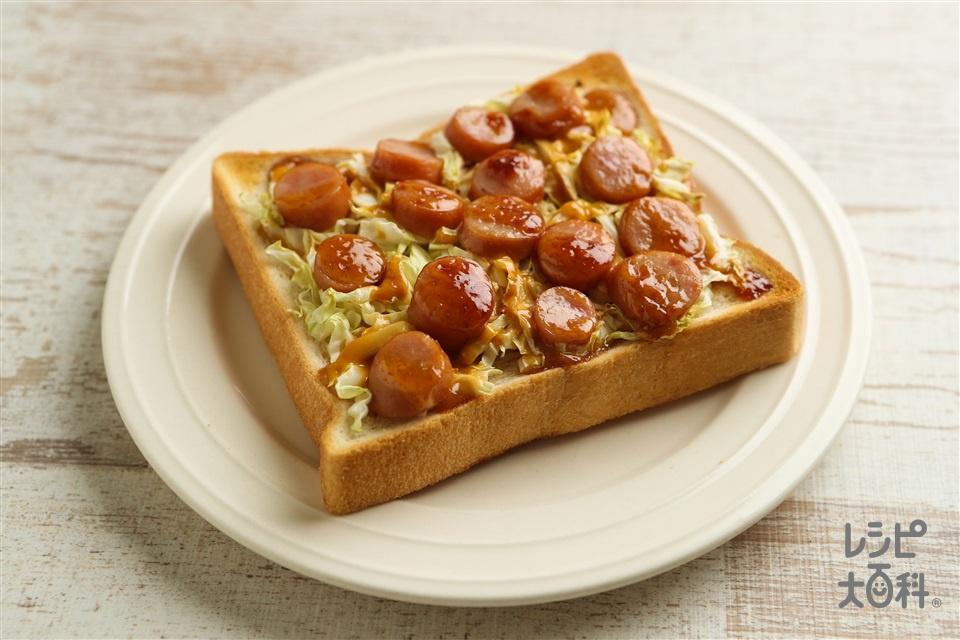 味噌マヨドッグトースト(食パン6枚切り+キャベツを使ったレシピ)