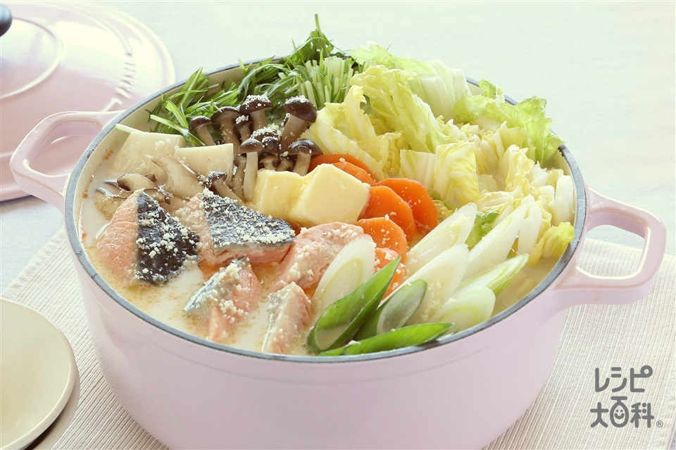 鮭のミルク鍋(さけ+牛乳を使ったレシピ)