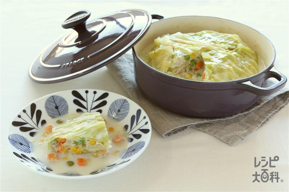 ミルクミルフィーユきゃべつ(キャベツ+鶏ひき肉を使ったレシピ)