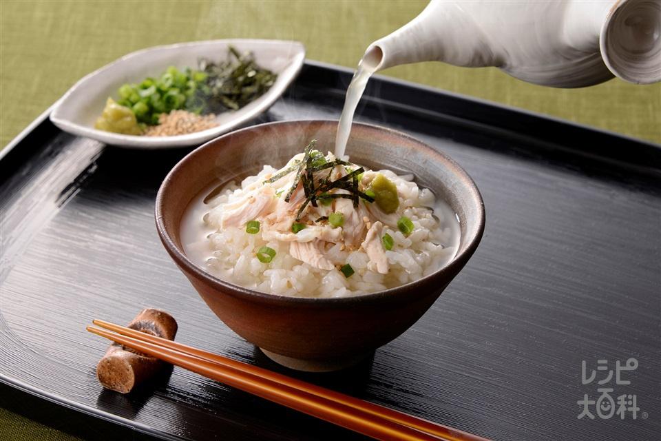 鶏ささみのあごだし茶漬け(ご飯+鶏ささ身を使ったレシピ)