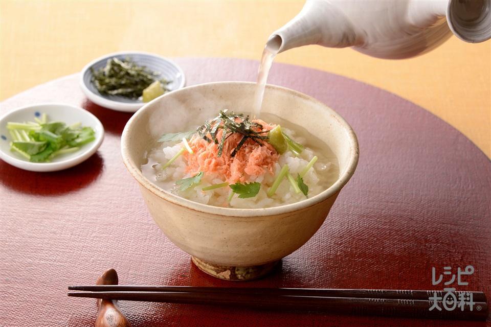 鮭のあごだし茶漬け(ご飯+さけフレークを使ったレシピ)