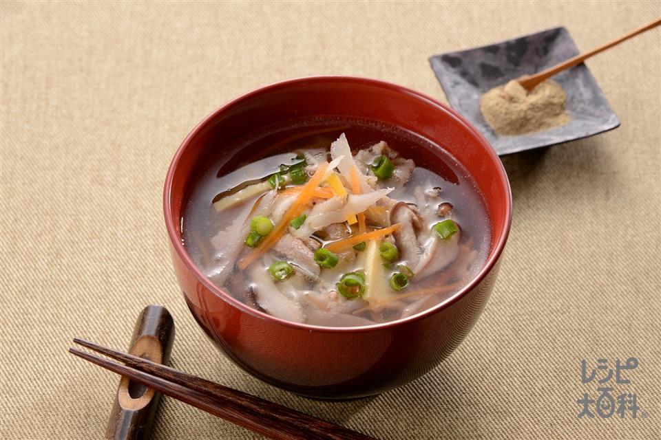 豚肉と細切り野菜のお吸い物(豚バラ薄切り肉+しいたけを使ったレシピ)