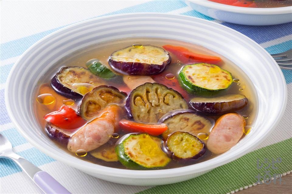 なすのスープ野菜(なす+ズッキーニを使ったレシピ)