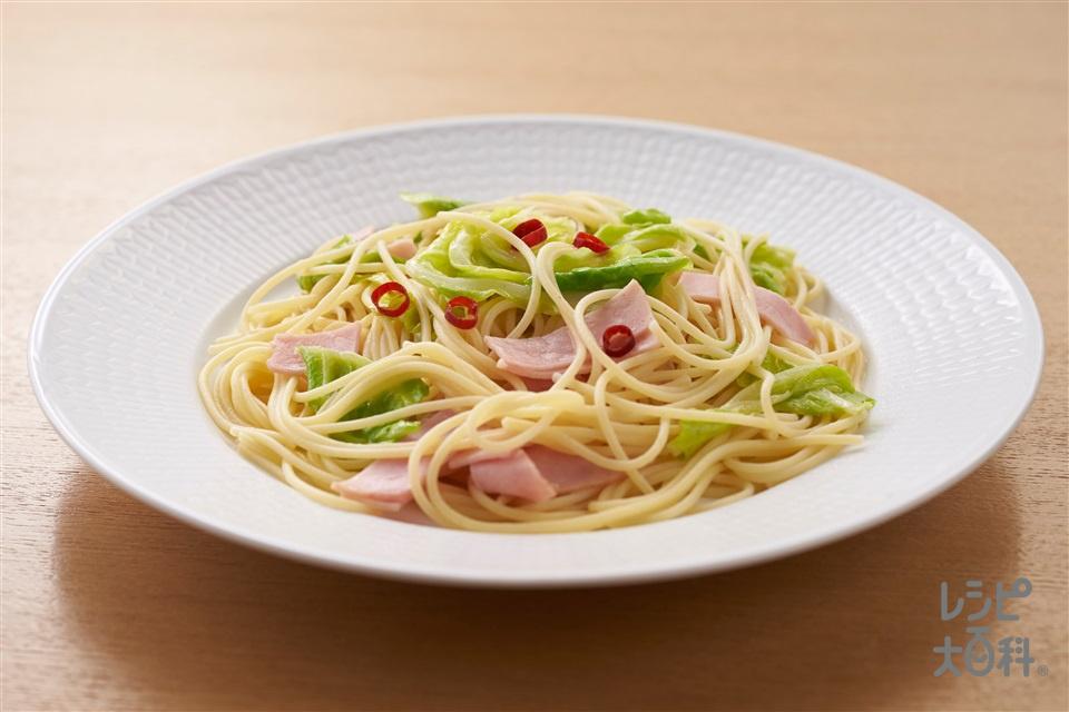 秒速 金のペペロンチーノ(スパゲッティ(ゆで)+キャベツを使ったレシピ)