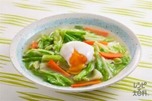 キャベツのだし煮 巣ごもり風(キャベツ+半熟卵を使ったレシピ)