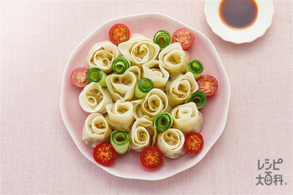 カンタン!薔薇餃子(餃子の皮+豚ひき肉を使ったレシピ)