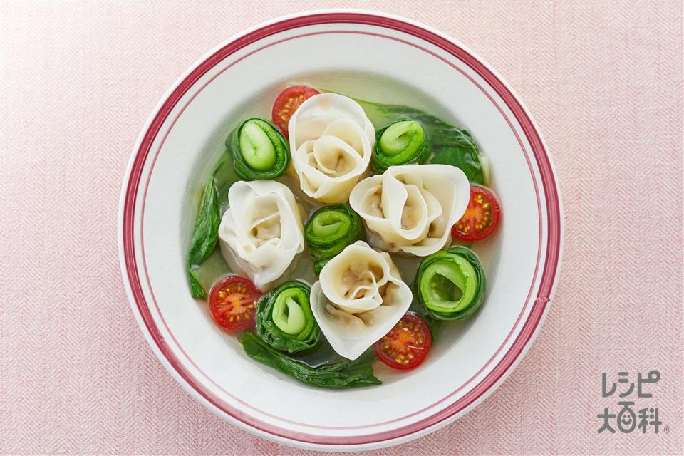 カンタン!薔薇スープ餃子(餃子の皮+豚ひき肉を使ったレシピ)