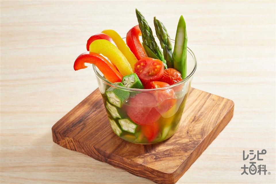 夏野菜のだし煮(グリーンアスパラガス+ミニトマトを使ったレシピ)