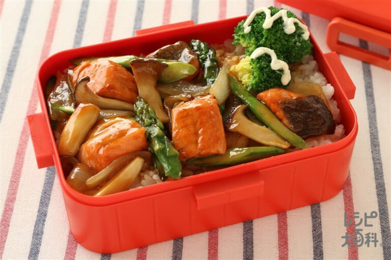 鮭とアスパラの生姜炒め 弁当