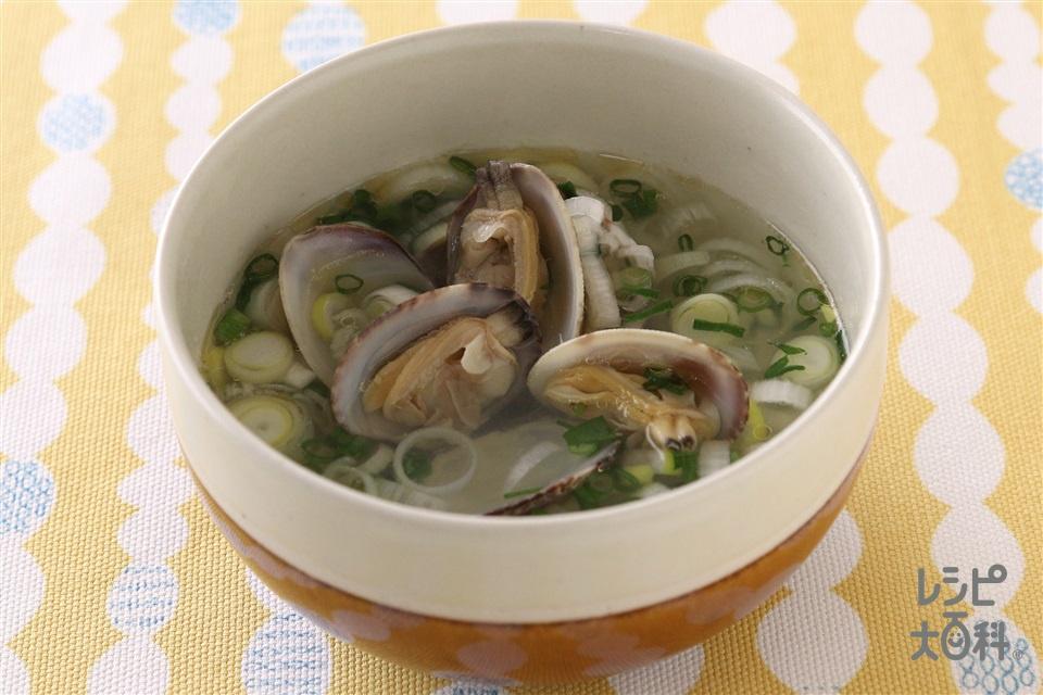 あさりのネギスープ(あさり(殻つき)+長ねぎを使ったレシピ)