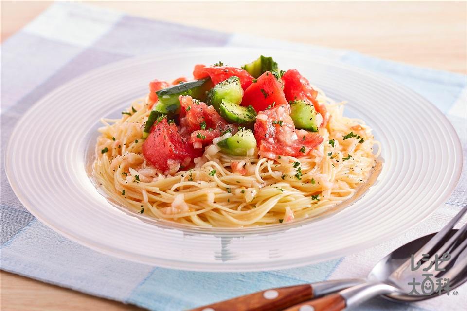 トマトときゅうりの冷製パスタ(カッペリーニ+トマトを使ったレシピ)