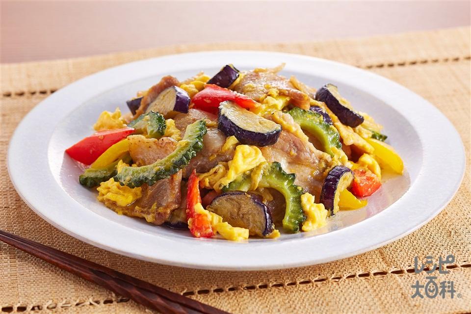 夏野菜チャンプルー(豚バラ薄切り肉+ゴーヤを使ったレシピ)