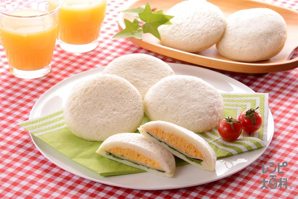 にんじんとたまごのまんまるサンド(サンドイッチ用食パン+グリーンリーフを使ったレシピ)