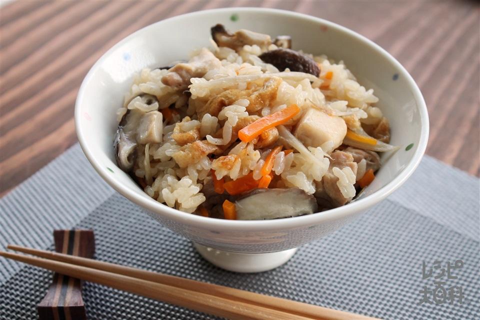 だし炊き五目ご飯(米+鶏もも肉を使ったレシピ)